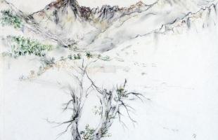 les-cinq-moines-corse-2001-aquarelle-sur-papier-42-x-56-cm